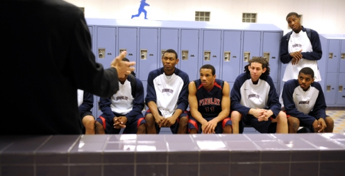 Coach delivers his pregame speech before the game against Desert Pines High School